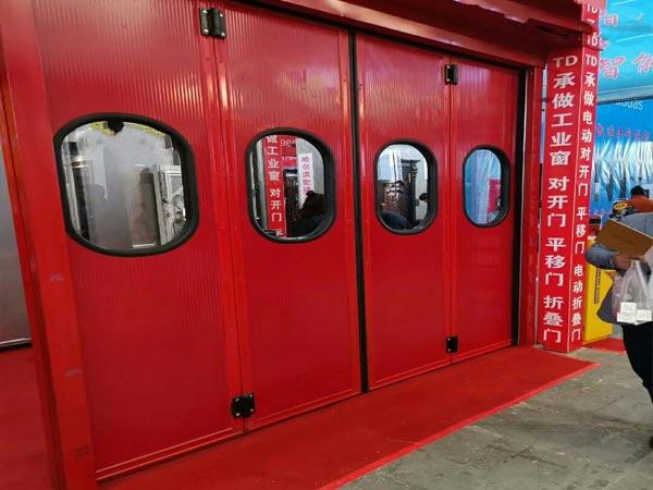 重型红色工业折叠门